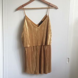 Gold Pleated Romper